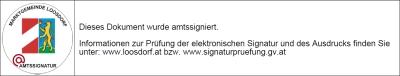 Signaturblock; links die Bildmarke, rechts der Hinweis der Amtssignierung.