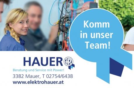"""Foto von Elektromonteurin mit Text """"Komm in unser Team"""""""