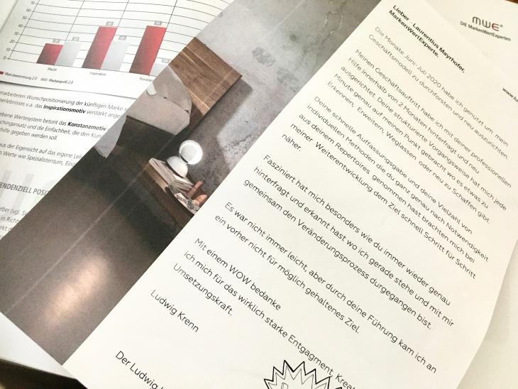 Testimonial eines Möbelhandels und Einrichtungsstudios an MarkenWertExperte Laurentius Mayrhofer