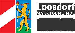Logo mit Gemeindewappen und Schriftzug: Marktgemeinde Loosdorf